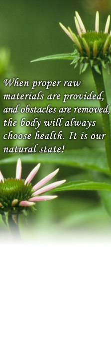 When proper raw materials are provided, and obstacles are removed, the body will always choose health. It is our natural state